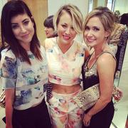 Kaley Cuoco at Rebecca Taylor store x3 (bare tummy)